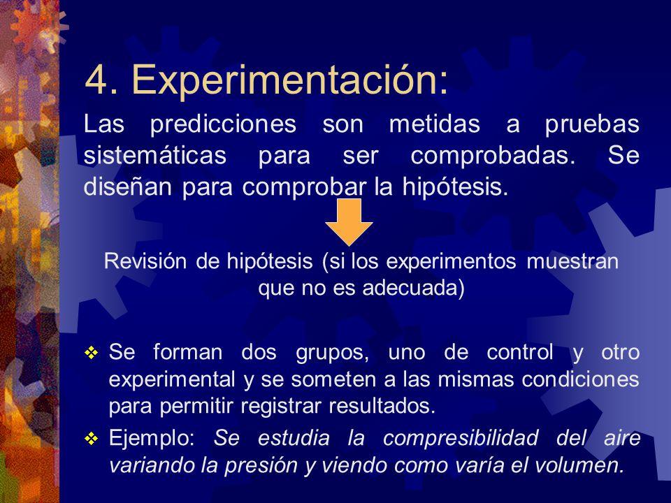 4. Experimentación: Las predicciones son metidas a pruebas sistemáticas para ser comprobadas. Se diseñan para comprobar la hipótesis.
