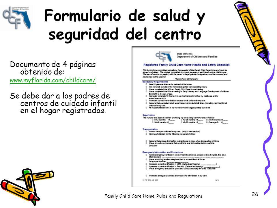 Reglas Y Regulaciones Para Los Centros De Cuidado Infantil