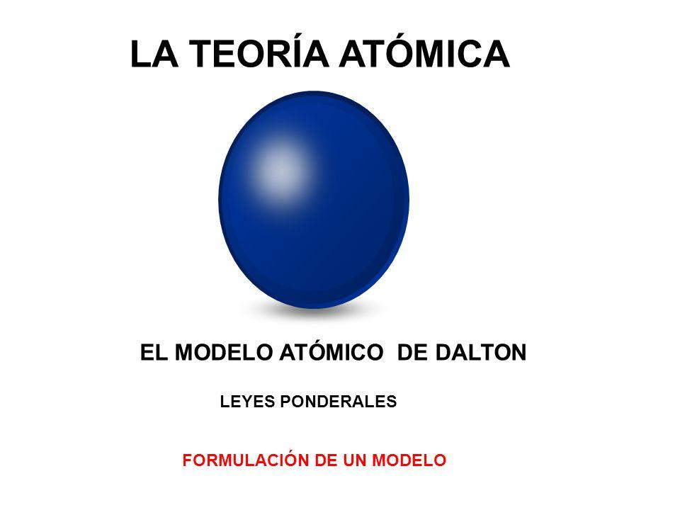 LA TEORÍA ATÓMICA EL MODELO ATÓMICO DE DALTON LEYES PONDERALES