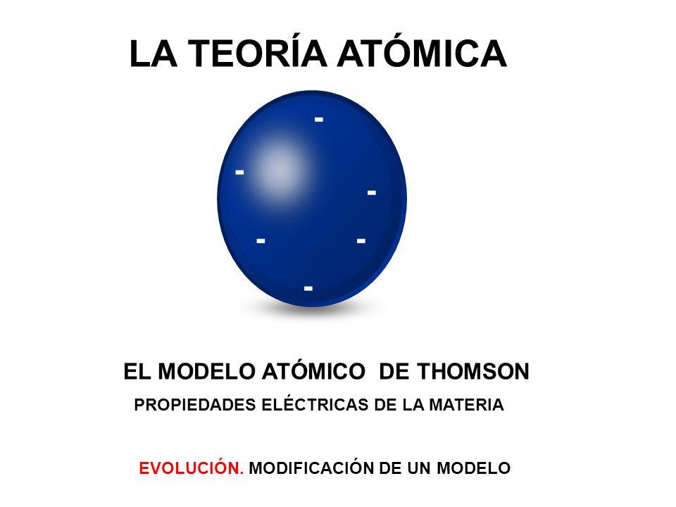 LA TEORÍA ATÓMICA - - - - - - EL MODELO ATÓMICO DE THOMSON
