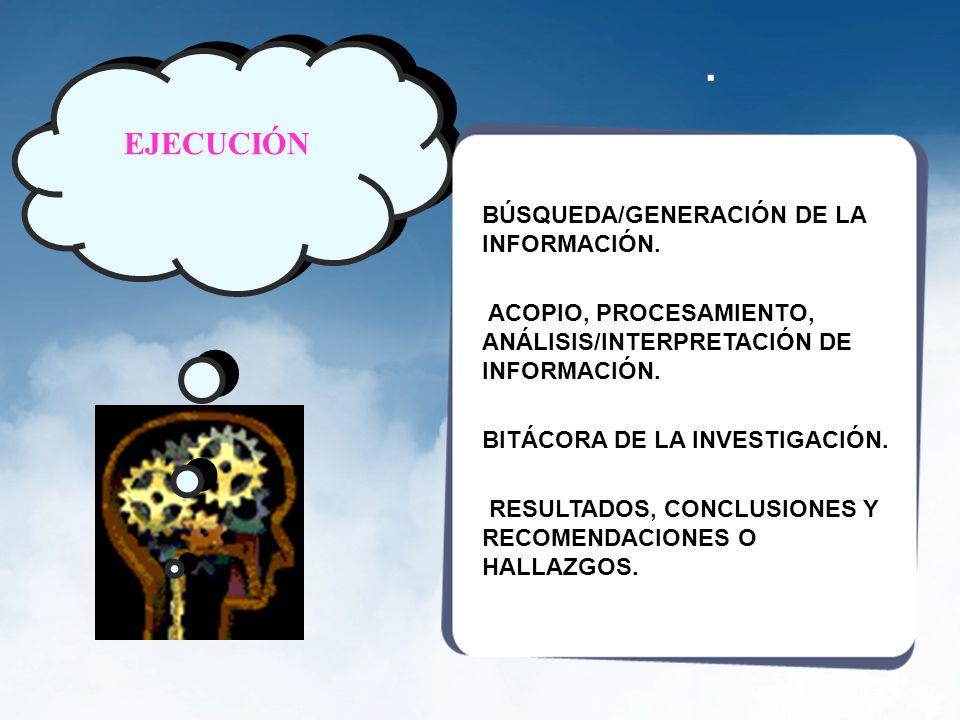 . EJECUCIÓN BÚSQUEDA/GENERACIÓN DE LA INFORMACIÓN.