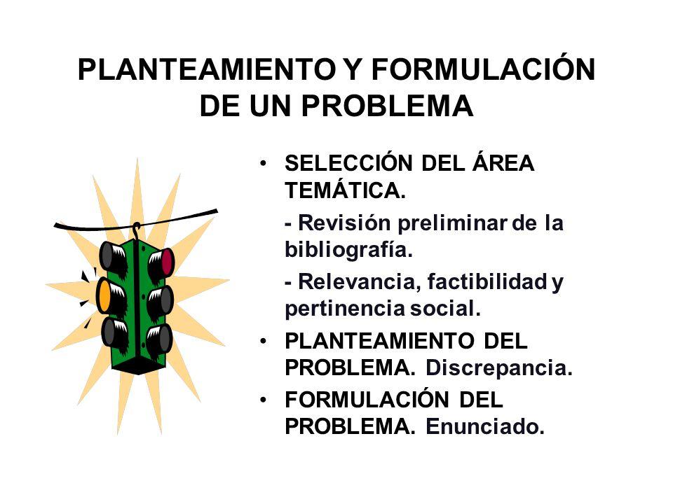 PLANTEAMIENTO Y FORMULACIÓN DE UN PROBLEMA