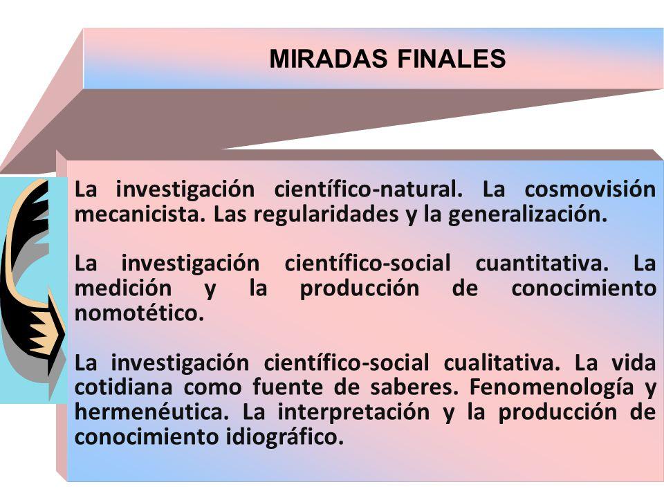 MIRADAS FINALES La investigación científico-natural. La cosmovisión mecanicista. Las regularidades y la generalización.