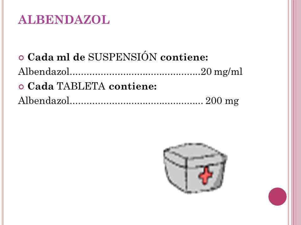 albendazol Cada ml de SUSPENSIÓN contiene: