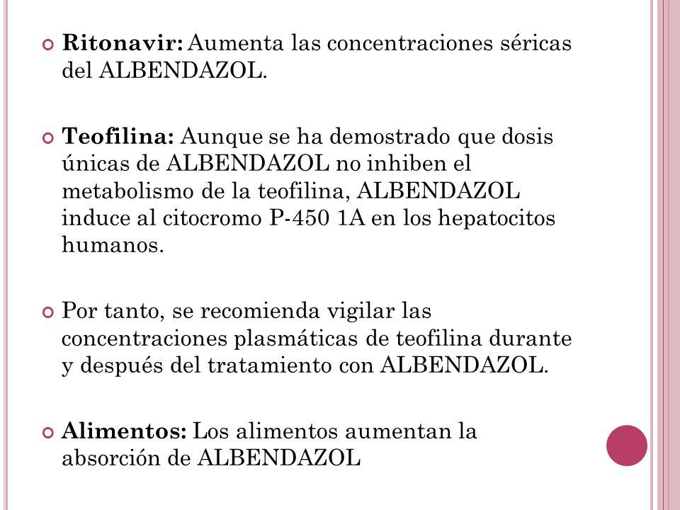 Ritonavir: Aumenta las concentraciones séricas del ALBENDAZOL.