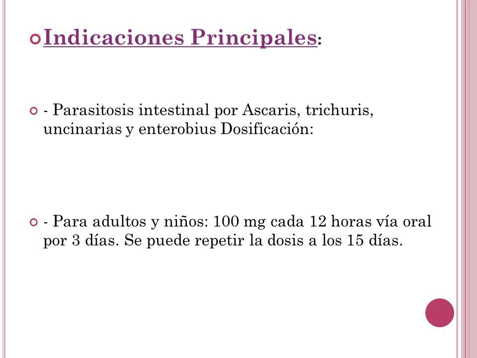 Indicaciones Principales: