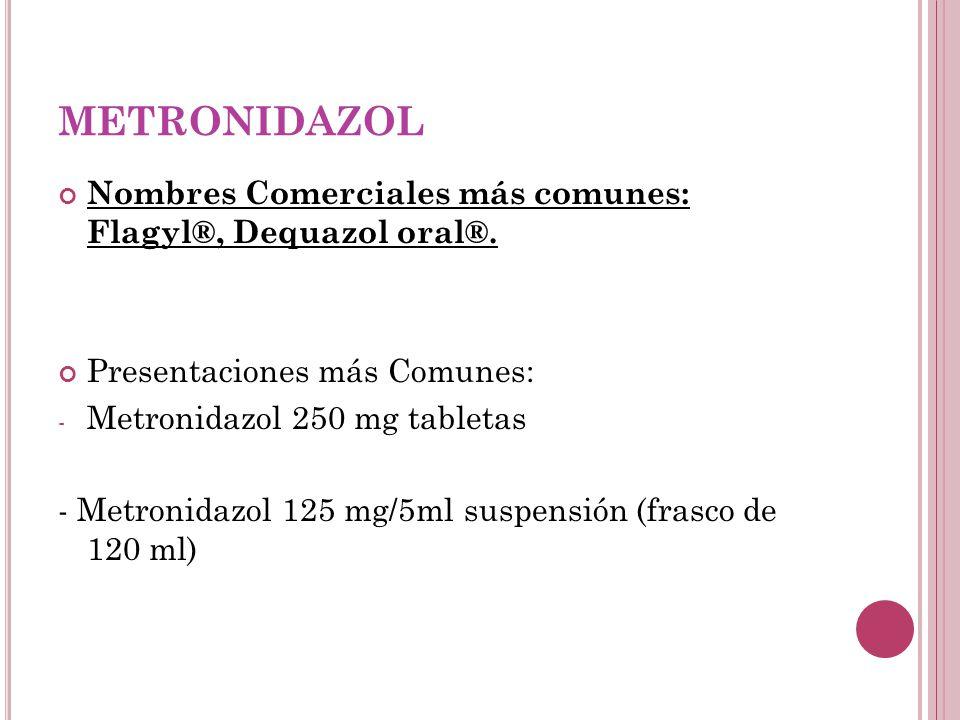 METRONIDAZOL Nombres Comerciales más comunes: Flagyl®, Dequazol oral®.
