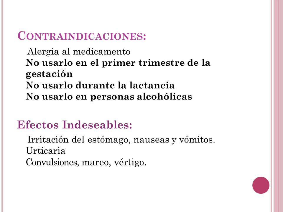 Contraindicaciones: Efectos Indeseables:
