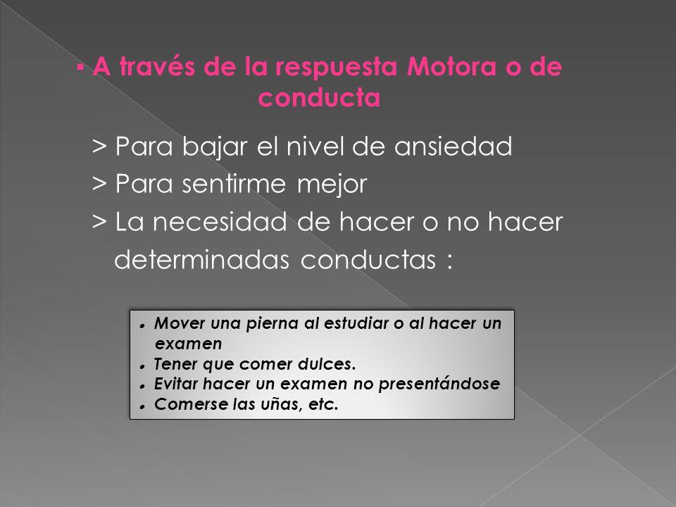 ▪ A través de la respuesta Motora o de conducta