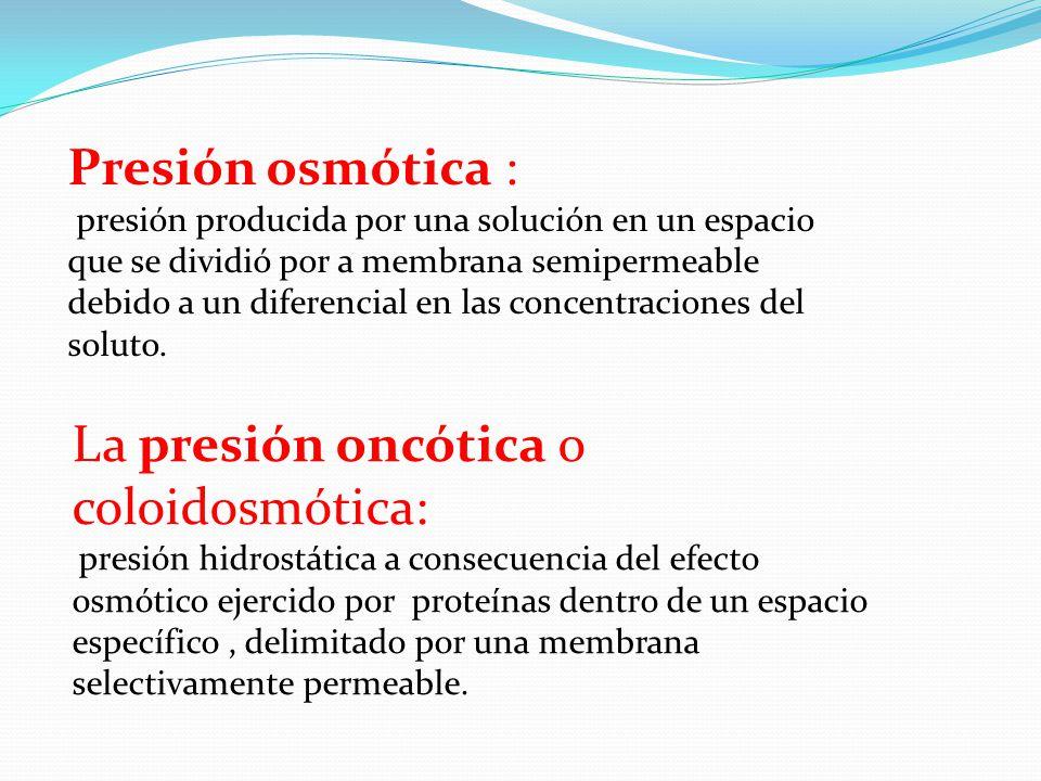 La presión oncótica o coloidosmótica: