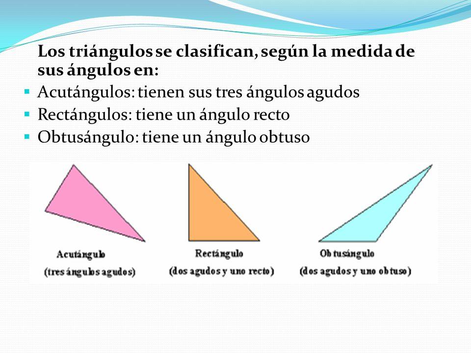 Los triángulos se clasifican, según la medida de sus ángulos en: