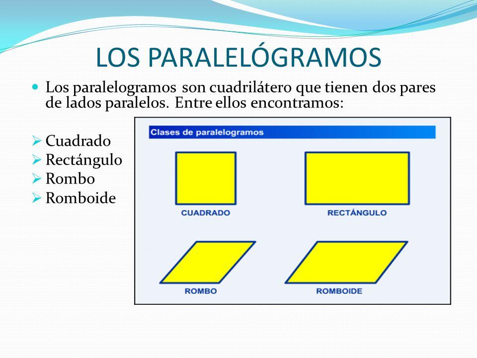 LOS PARALELÓGRAMOS Los paralelogramos son cuadrilátero que tienen dos pares de lados paralelos. Entre ellos encontramos: