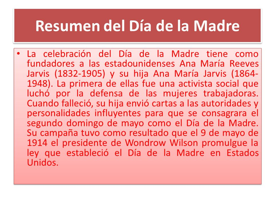 Resumen del Día de la Madre