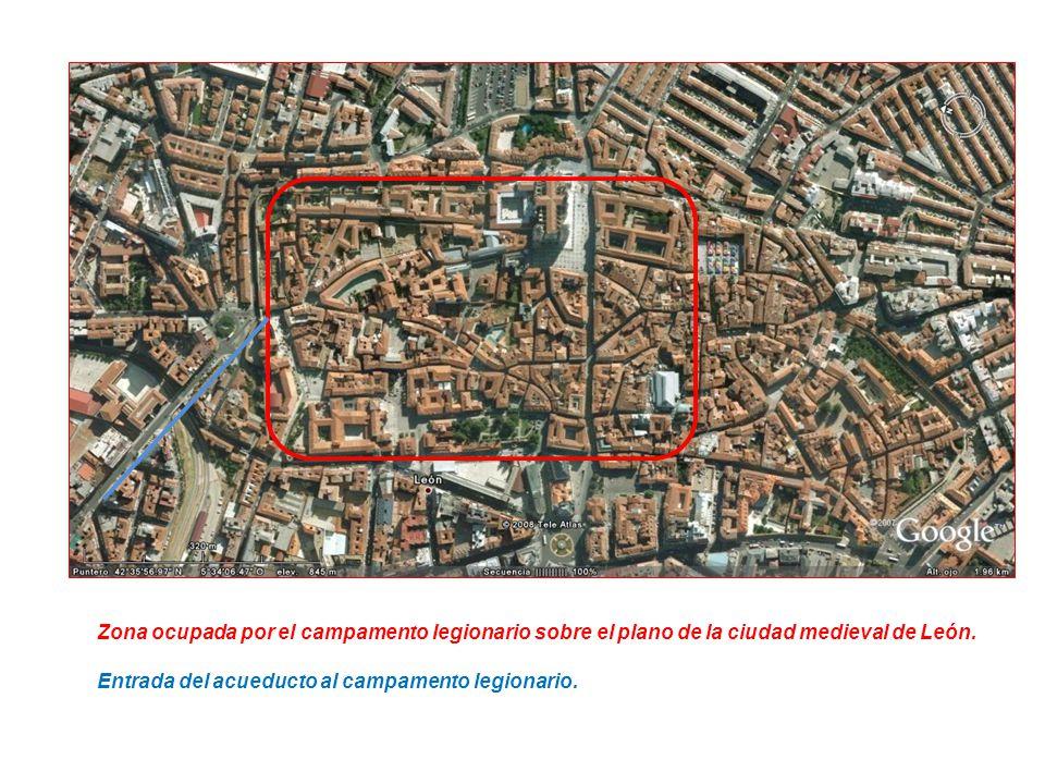 Zona ocupada por el campamento legionario sobre el plano de la ciudad medieval de León.
