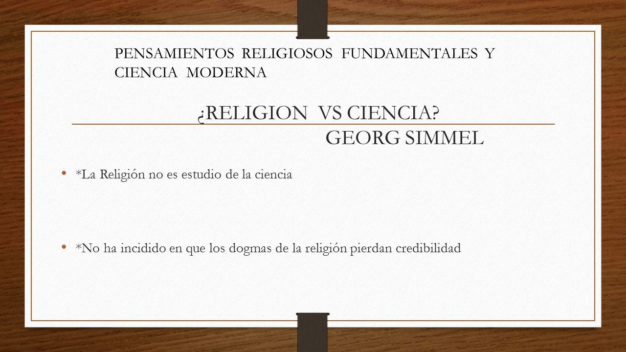 ¿RELIGION VS CIENCIA GEORG SIMMEL