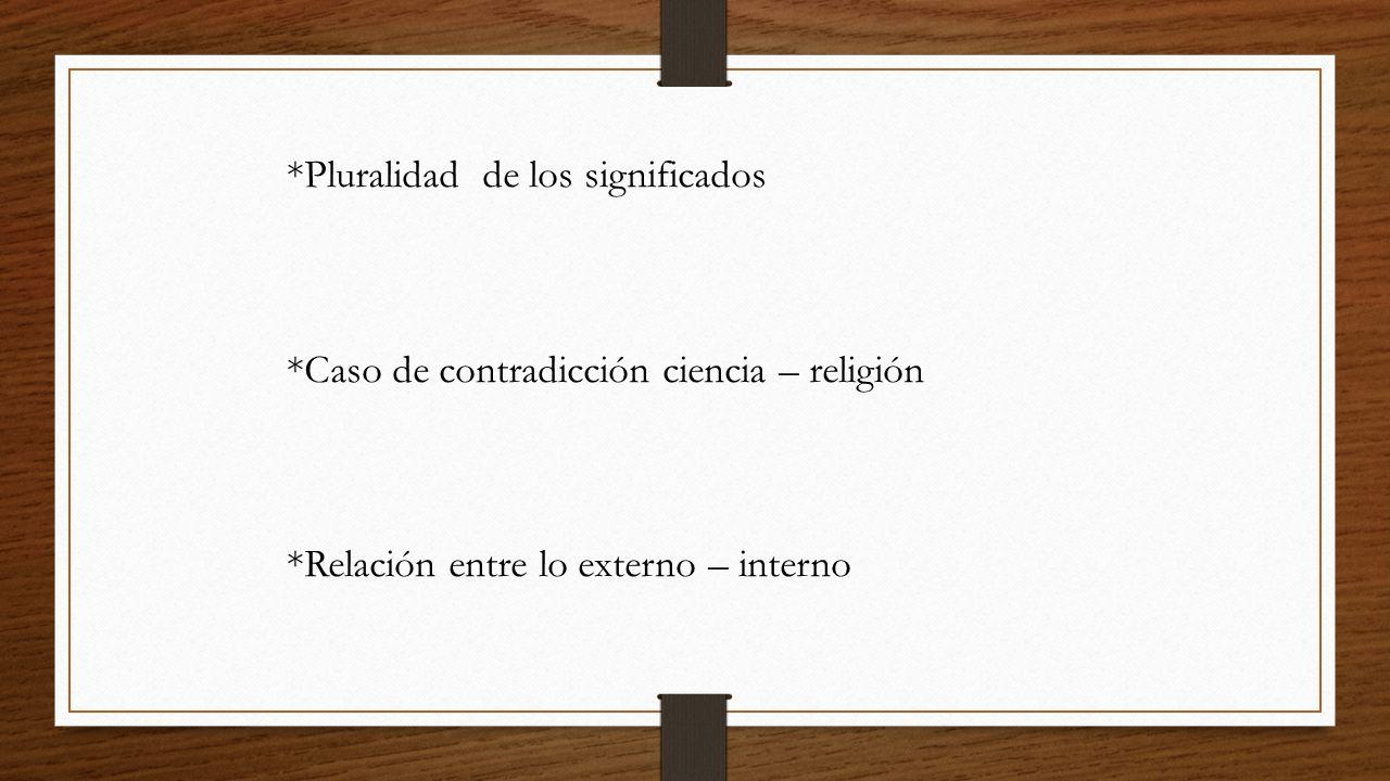 *Pluralidad de los significados
