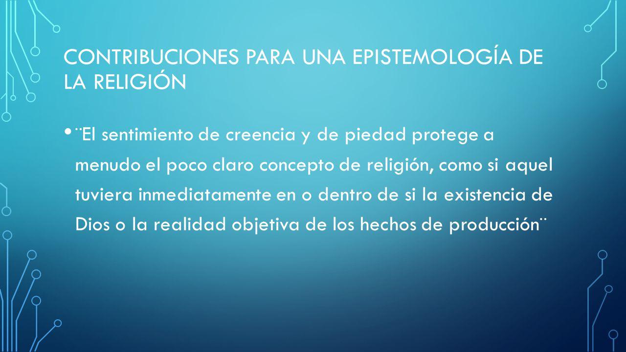 Contribuciones para una epistemología de la religión