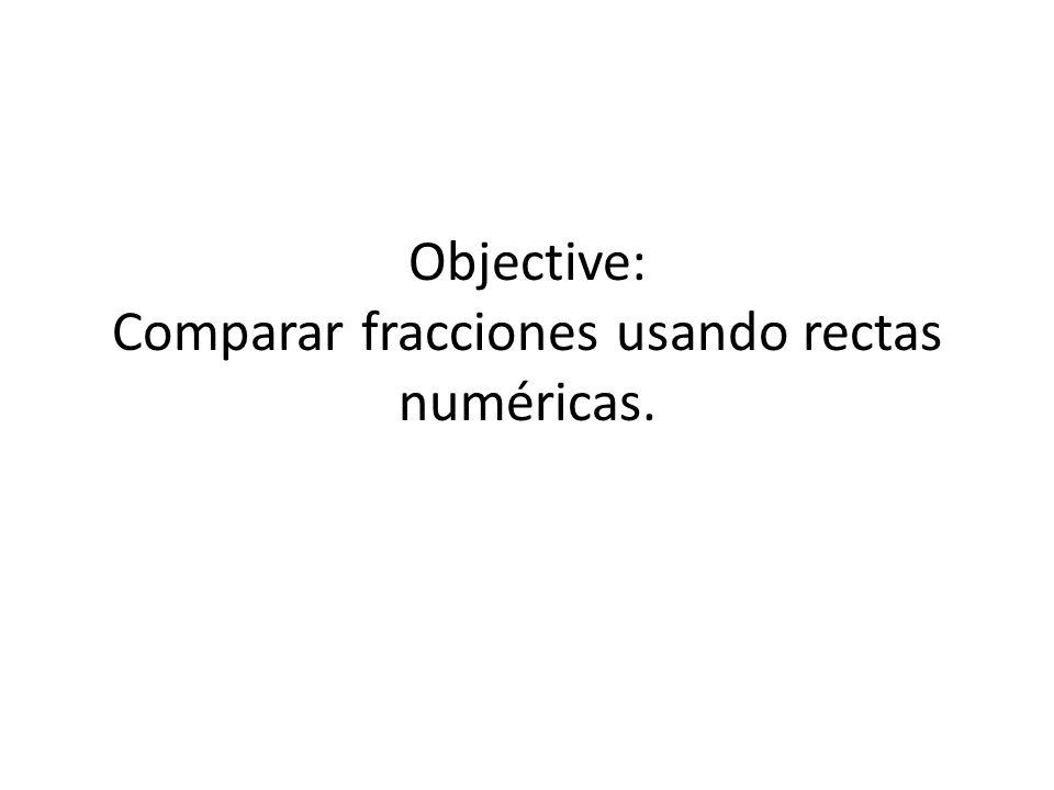 Objective: Comparar fracciones usando rectas numéricas.