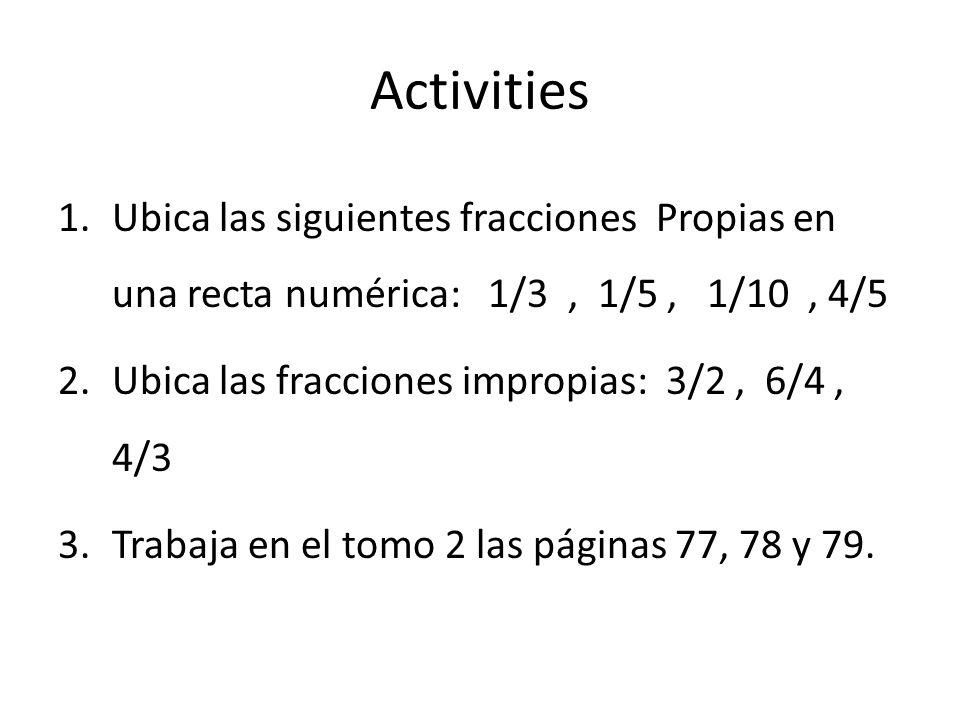 Activities Ubica las siguientes fracciones Propias en una recta numérica: 1/3 , 1/5 , 1/10 , 4/5.