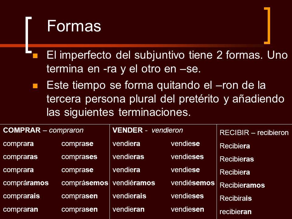FormasEl imperfecto del subjuntivo tiene 2 formas. Uno termina en -ra y el otro en –se.