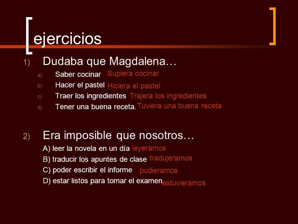 ejercicios Dudaba que Magdalena… Era imposible que nosotros…
