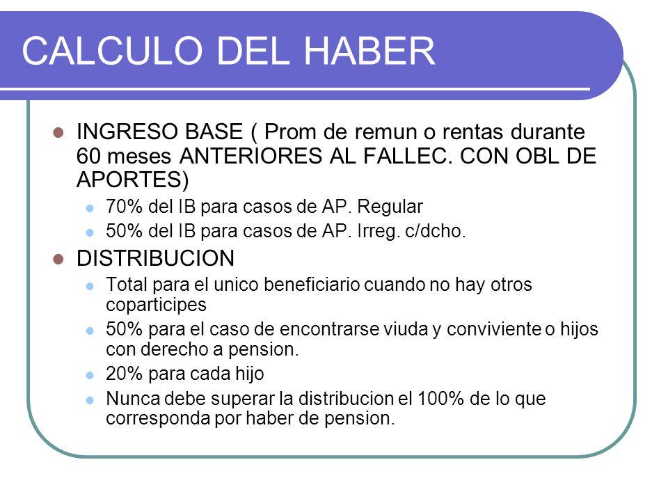 CALCULO DEL HABER INGRESO BASE ( Prom de remun o rentas durante 60 meses ANTERIORES AL FALLEC. CON OBL DE APORTES)