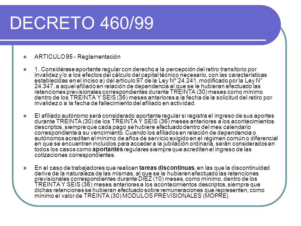DECRETO 460/99 ARTICULO 95 - Reglamentación