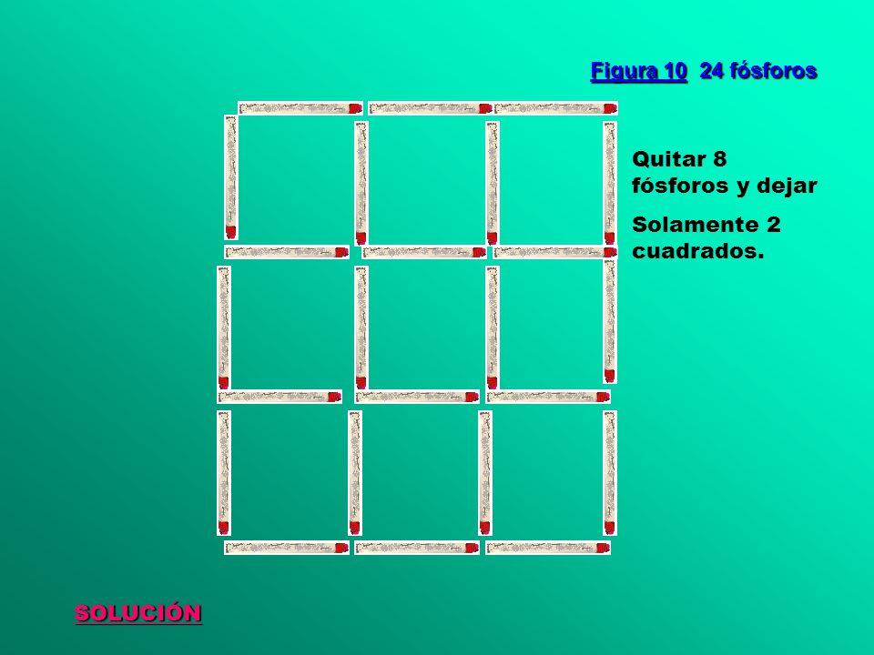 Figura 10 24 fósforos Quitar 8 fósforos y dejar Solamente 2 cuadrados. SOLUCIÓN
