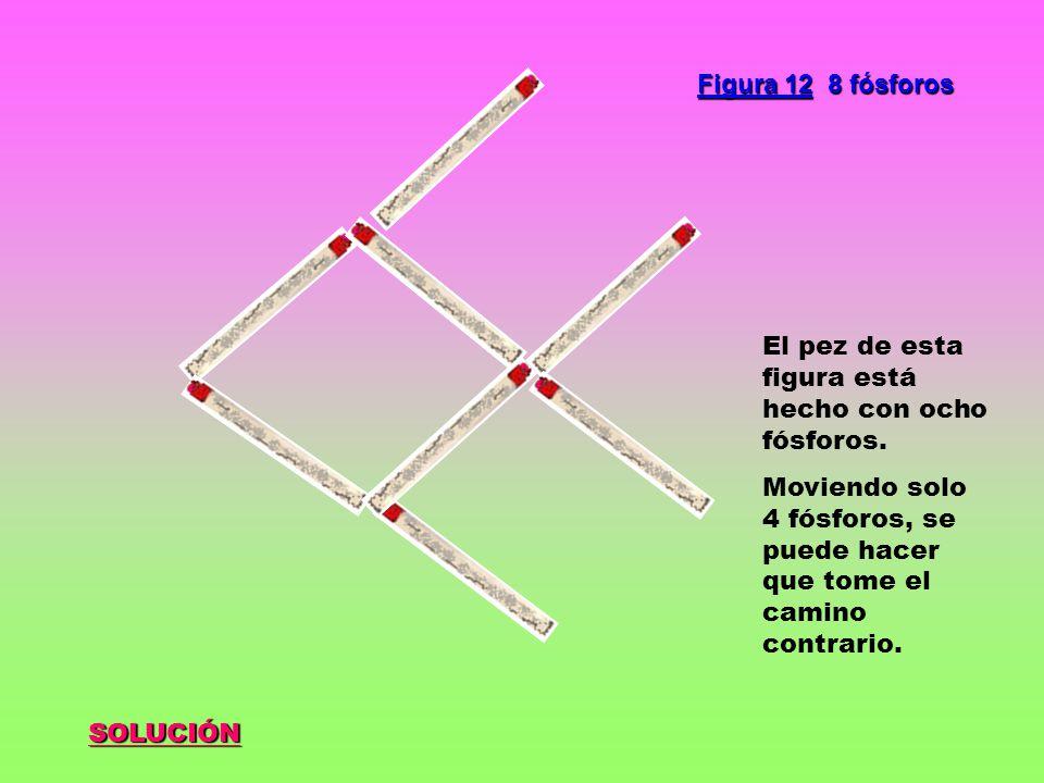 Figura 12 8 fósforos El pez de esta figura está hecho con ocho fósforos. Moviendo solo 4 fósforos, se puede hacer que tome el camino contrario.