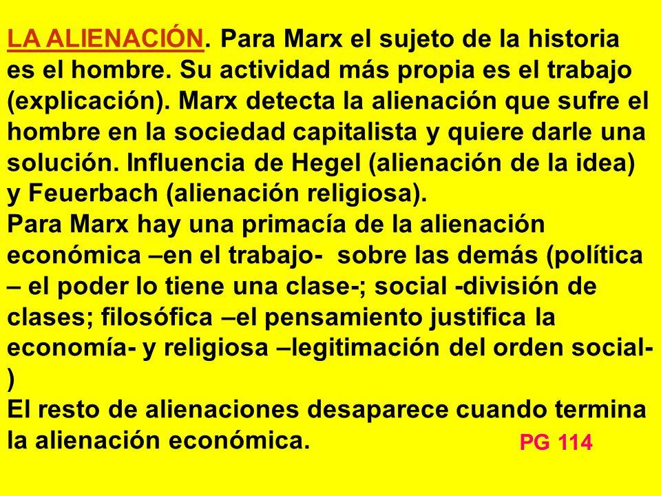 LA ALIENACIÓN. Para Marx el sujeto de la historia es el hombre