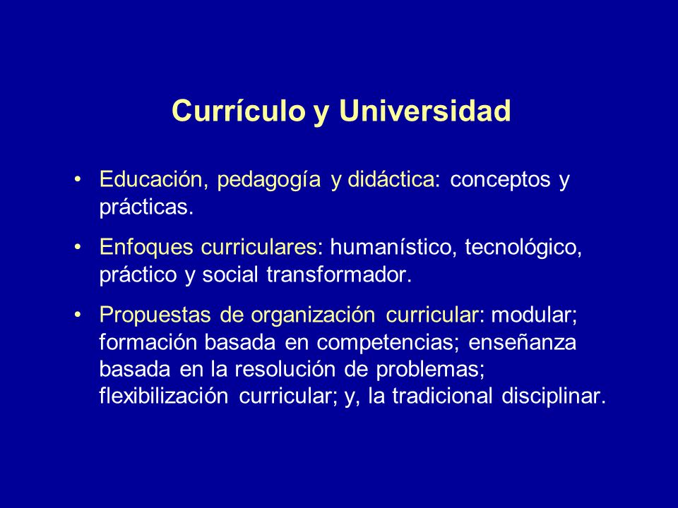Currículo y Universidad
