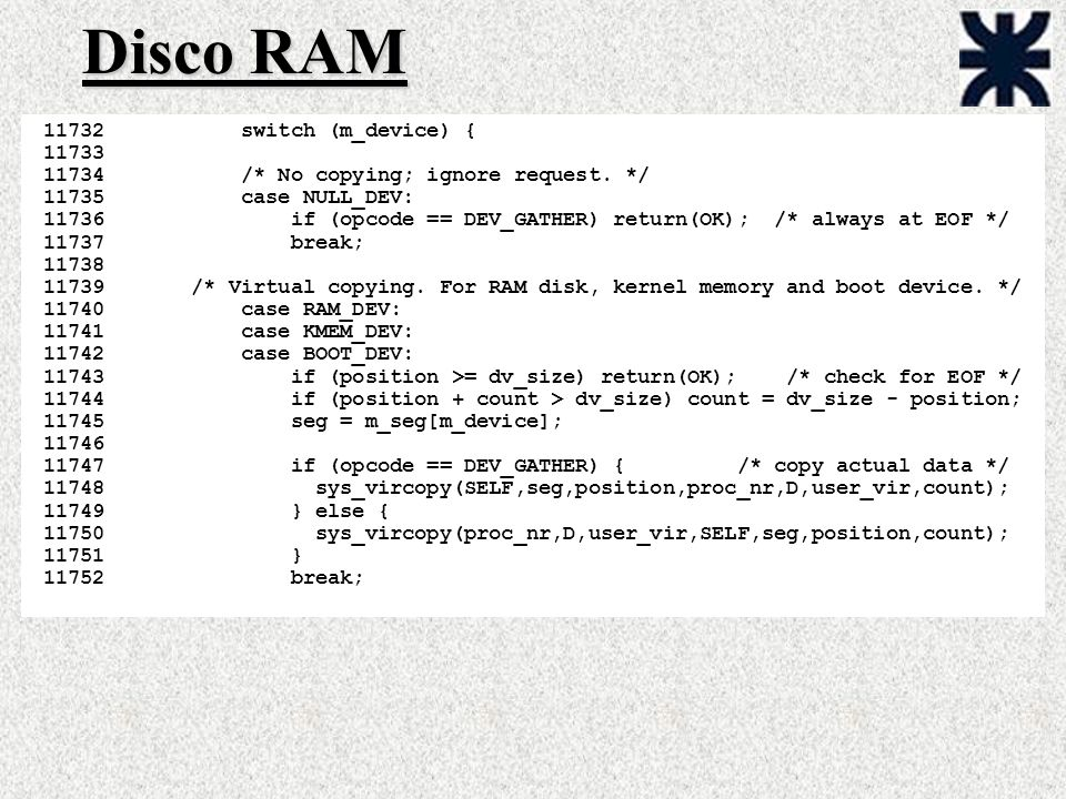 Disco RAM switch (m_device) { 11733