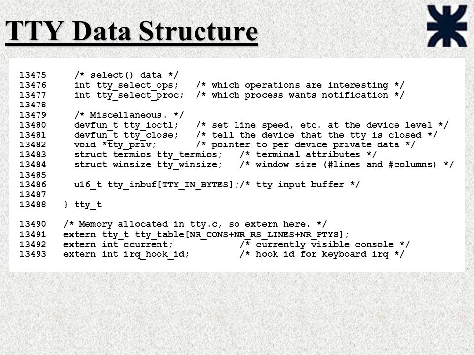 TTY Data Structure /* select() data */