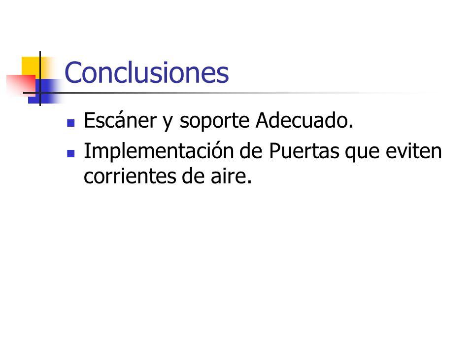 Conclusiones Escáner y soporte Adecuado.