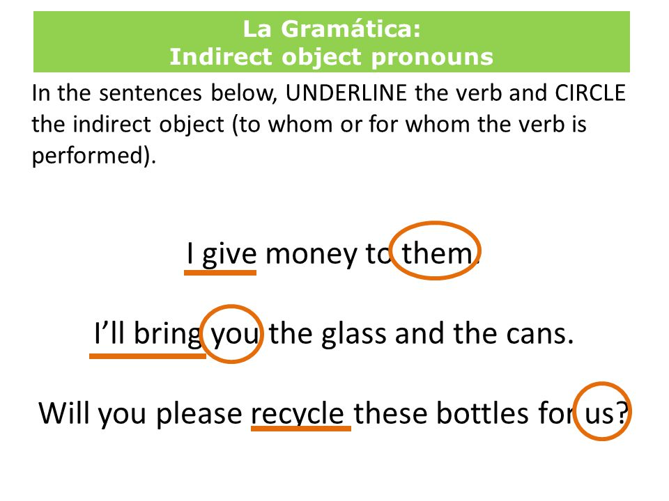 La Gramática: Indirect object pronouns