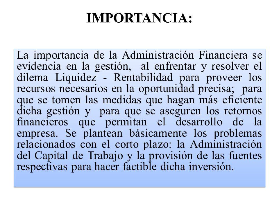 Administracion financiera concepto caracterizticas for Importancia de la oficina