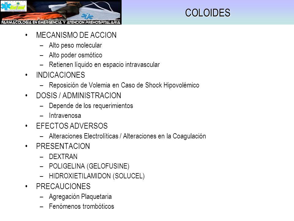 COLOIDES MECANISMO DE ACCION INDICACIONES DOSIS / ADMINISTRACION