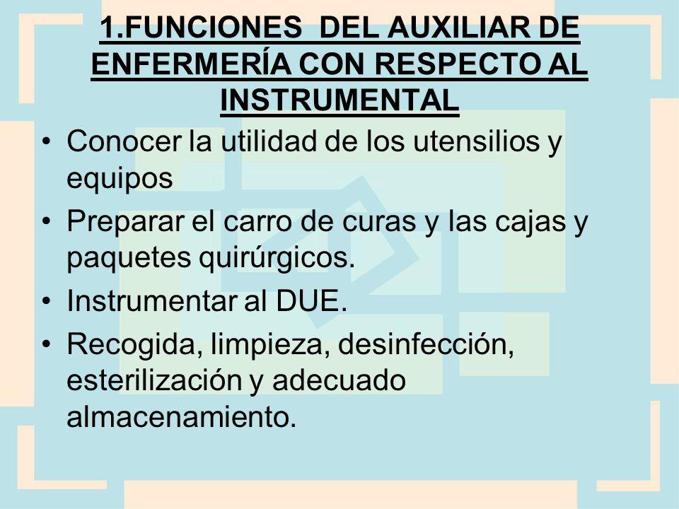 1.FUNCIONES DEL AUXILIAR DE ENFERMERÍA CON RESPECTO AL INSTRUMENTAL