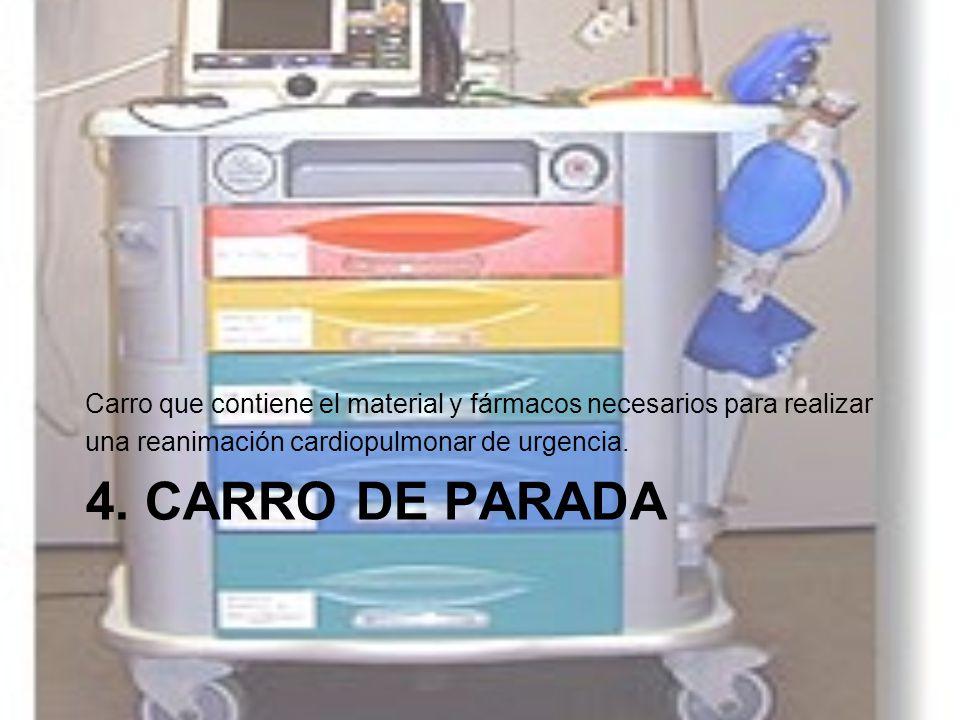 Carro que contiene el material y fármacos necesarios para realizar