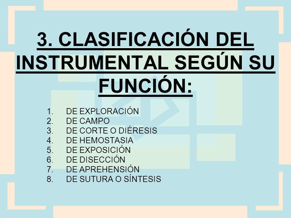 3. CLASIFICACIÓN DEL INSTRUMENTAL SEGÚN SU FUNCIÓN: