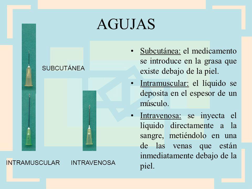 AGUJAS Subcutánea: el medicamento se introduce en la grasa que existe debajo de la piel.