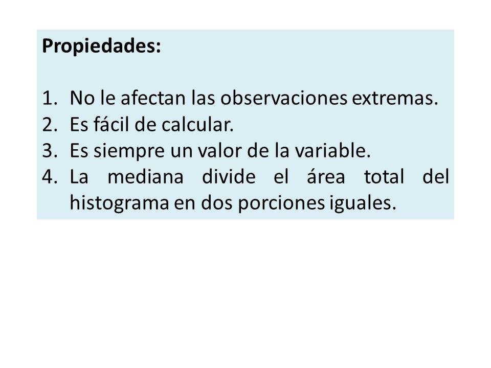 Propiedades: No le afectan las observaciones extremas. Es fácil de calcular. Es siempre un valor de la variable.