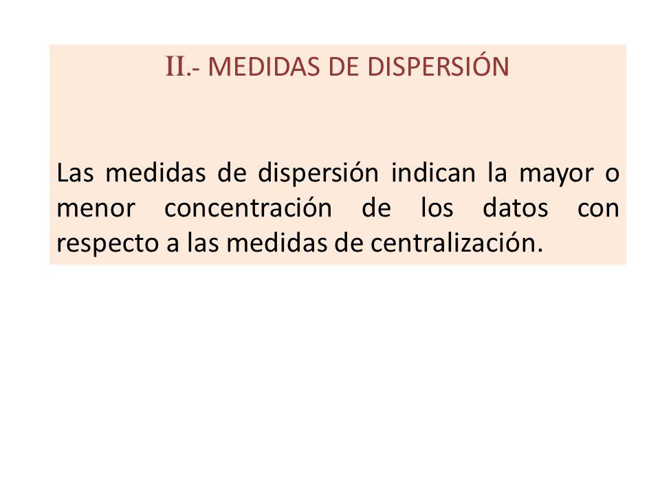 II.- MEDIDAS DE DISPERSIÓN