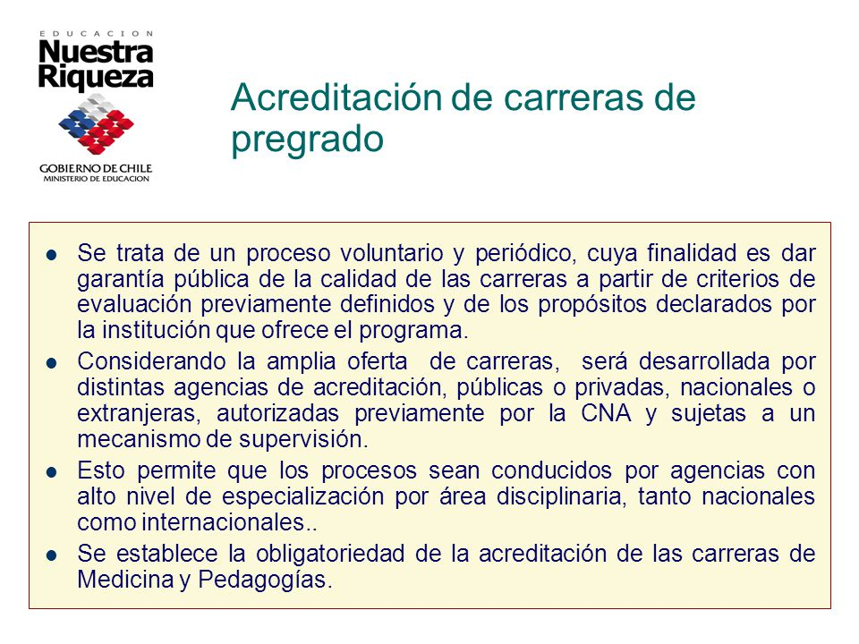 Acreditación de carreras de pregrado