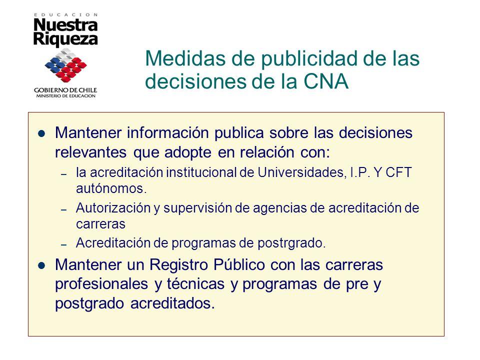 Medidas de publicidad de las decisiones de la CNA