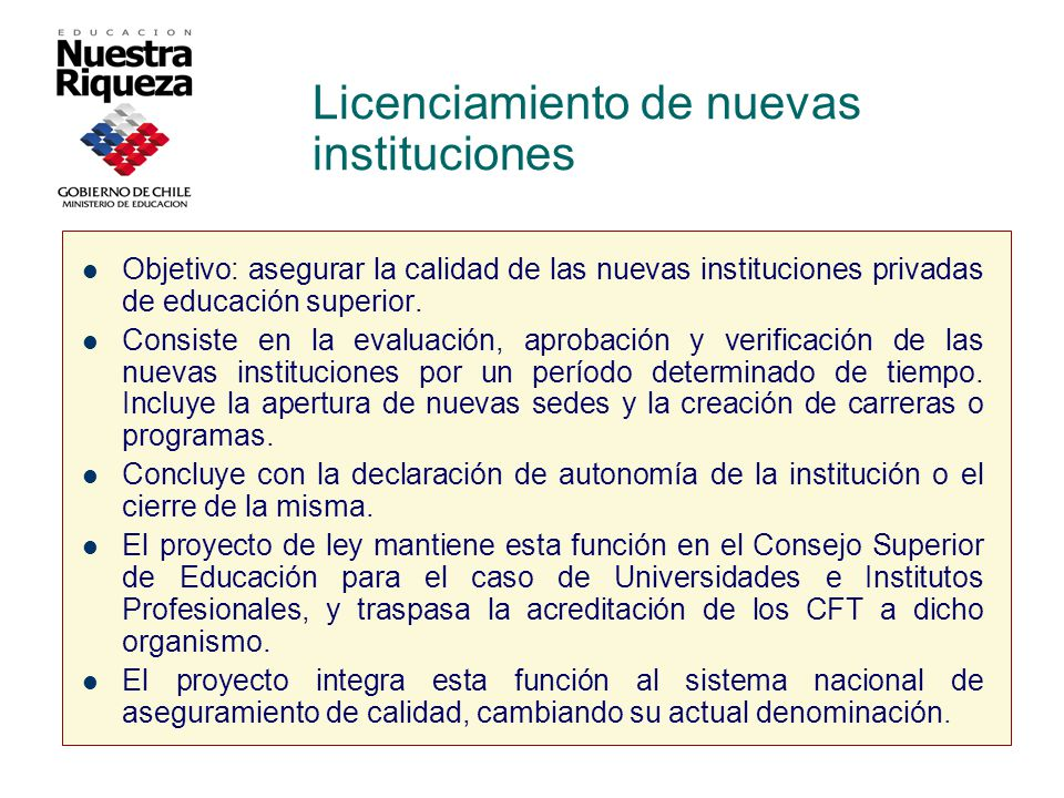 Licenciamiento de nuevas instituciones