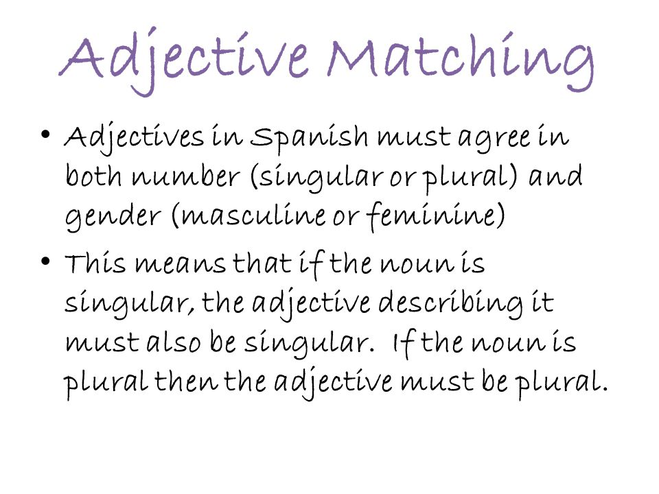 Adjective Matching Adjectives in Spanish must agree in both number (singular or plural) and gender (masculine or feminine)