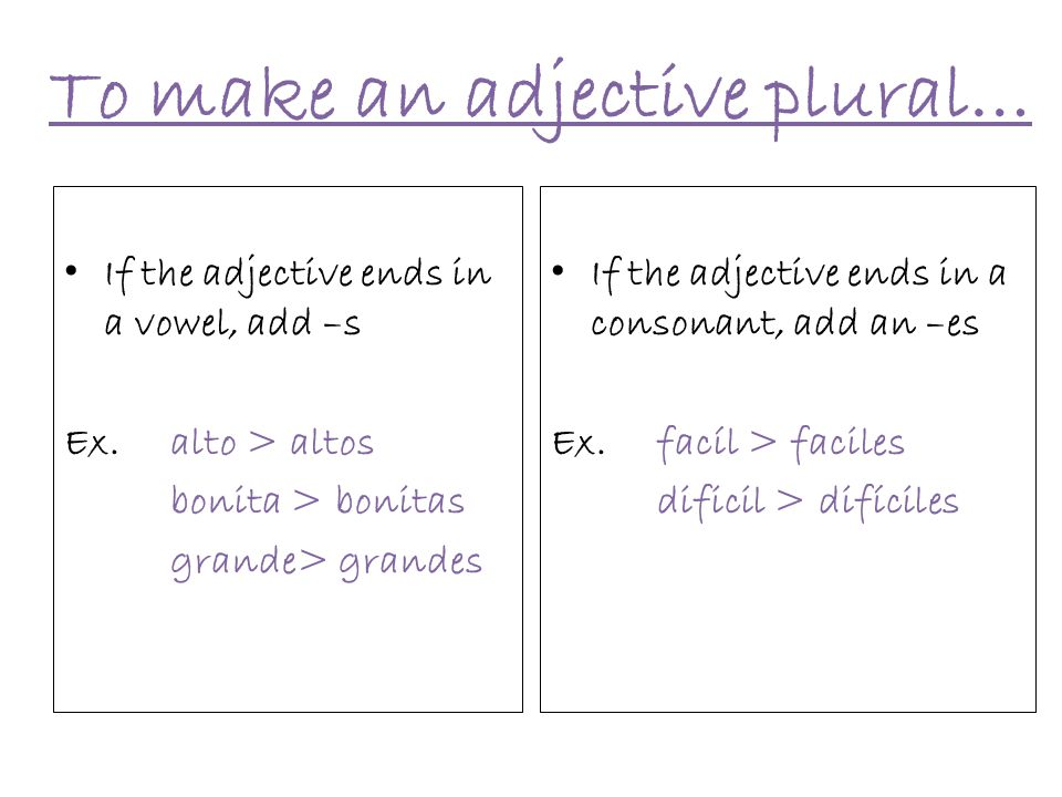 To make an adjective plural…