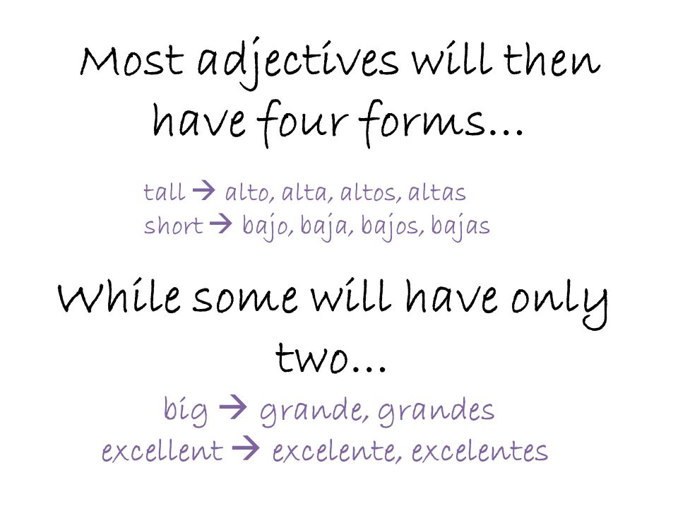 Most adjectives will then have four forms…