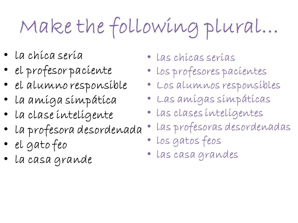 Make the following plural…